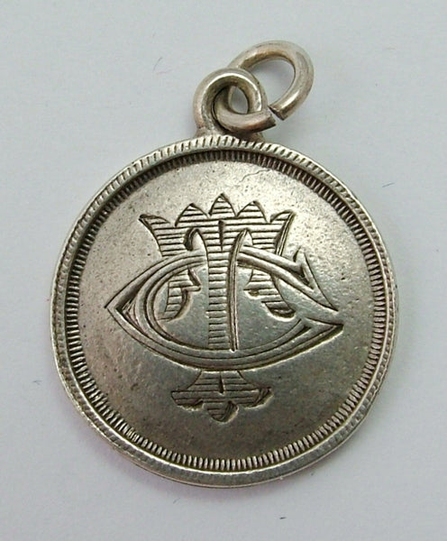 Antique Victorian Silver 'Lord's Prayer' & 'TC' Love Token Disc Charm HM 1893 Antique Charm - Sandy's Vintage Charms