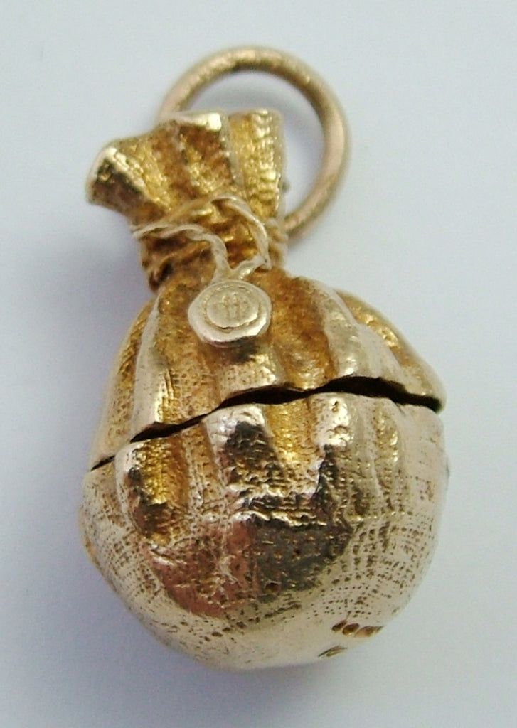 Large Vintage 1970's 9ct Gold Money Bag Charm Opens to Coins Inside Gold Charm - Sandy's Vintage Charms