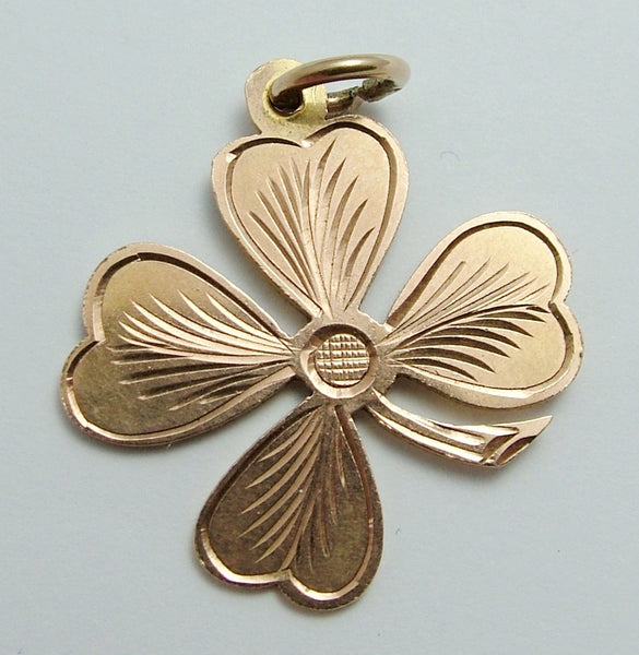 Large Antique Edwardian 9ct Rose Gold Lucky Four Leaf Clover Charm HM 1907 Antique Charm - Sandy's Vintage Charms
