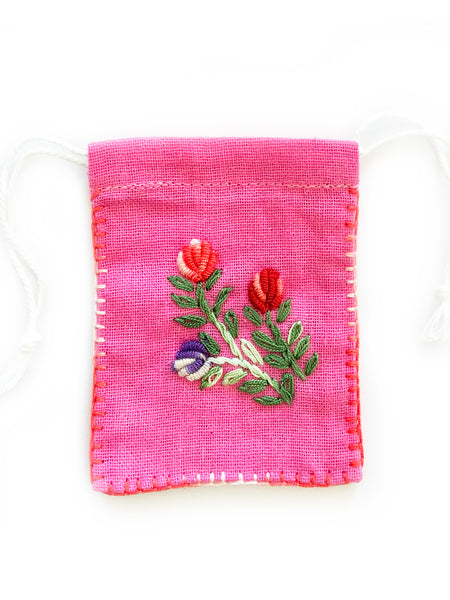 Embroidered Cotton Jewellery Pouch (Pink)