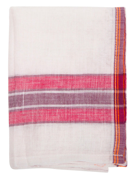 Indian Cotton Dish Cloth/Napkin (White/Red-Violet) 80x45cm