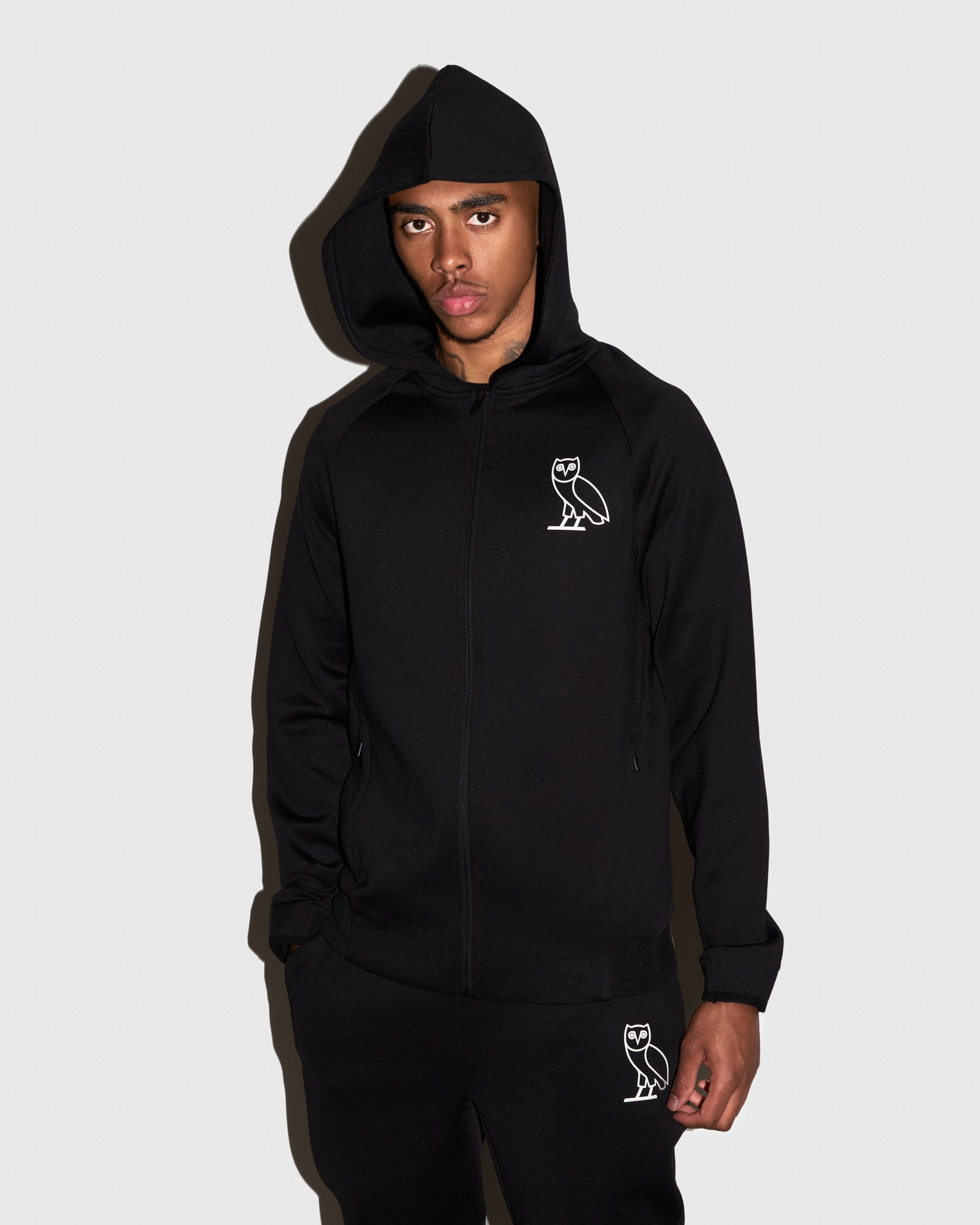 OVO DOUBLE KNIT ZIP HOODIE - BLACK IMAGE #2