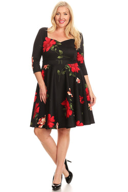 Fit and Flare Dress in Solid and Floral Plus Size