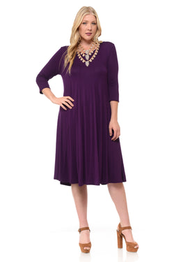 A-Line Trapeze Midi Plus Dress