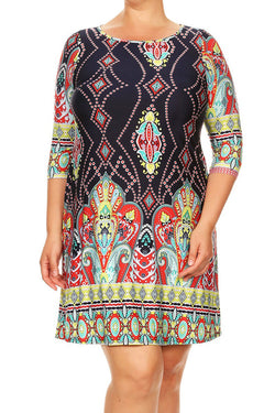 Border Print Plus Dress