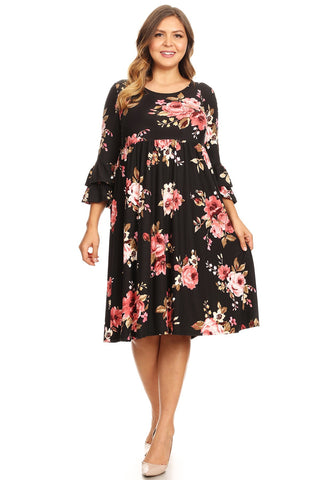 Ruffled Sleeve Babydoll Midi Dress in Plus Size
