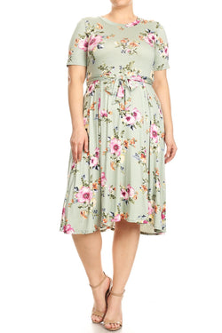 Fit and Flare Floral Midi Dress in Plus