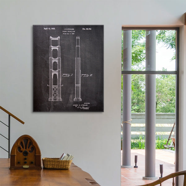 Golden Gate Bridge Main Tower Canvas Patent Print