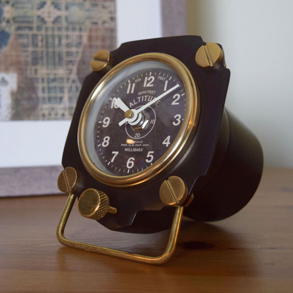 Altimeter Black Table Clock