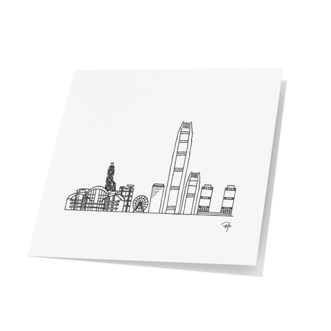 Hong Kong Skyline Note Cards