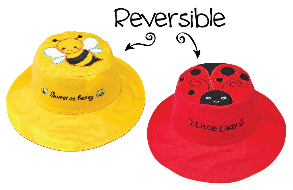 Flapjack Ladybug / Butterfly Reversible Sunhat
