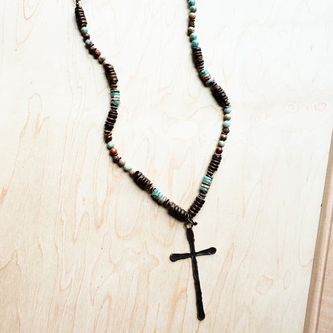 Aqua Terra and Wood Necklace with Copper Cross 237D