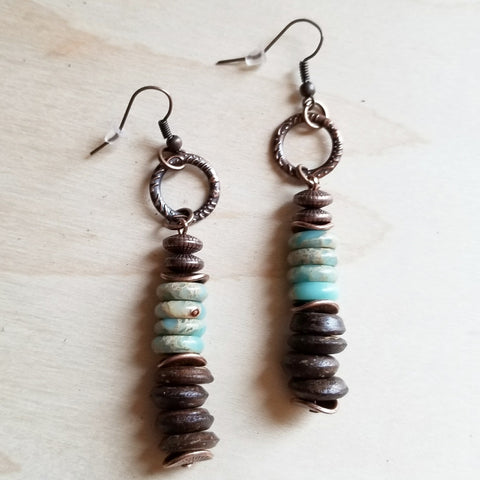 Aqua Terra and Wood Earrings 238R - The Jewelry Junkie