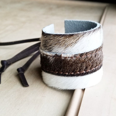 Leather Cuff w/ Adjustable Leather Tie-Hair on Hide Light Brindle 009q