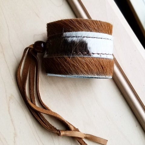 Leather Cuff w/ Adjustable Leather Tie (010F)