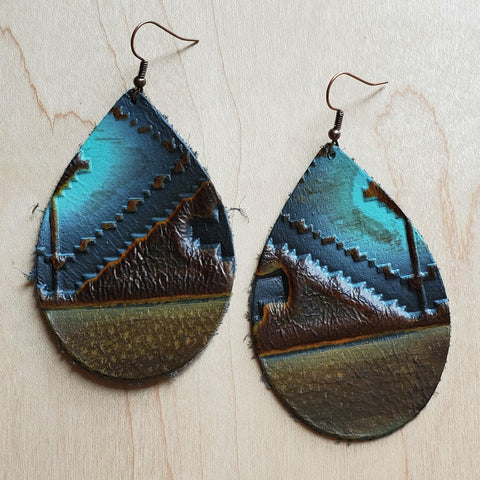Leather Teardrop Earrings in Blue Navajo 223z