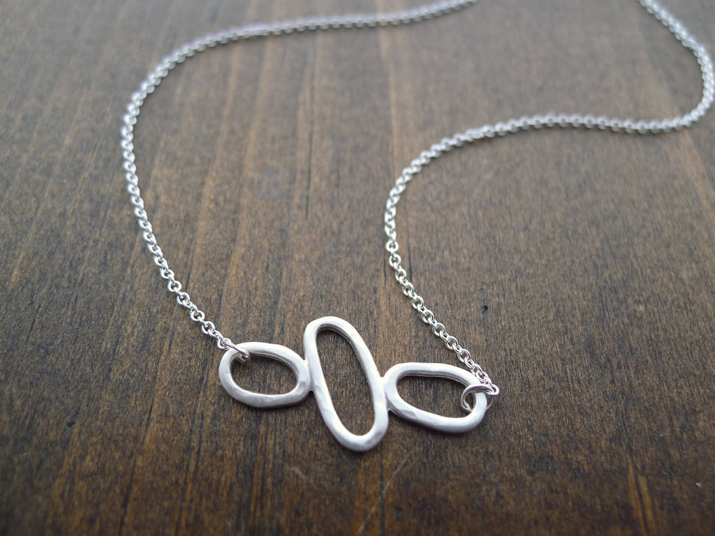 modern hammered silver necklace