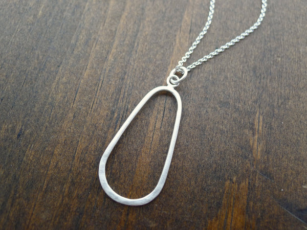 long hammered silver oval necklace