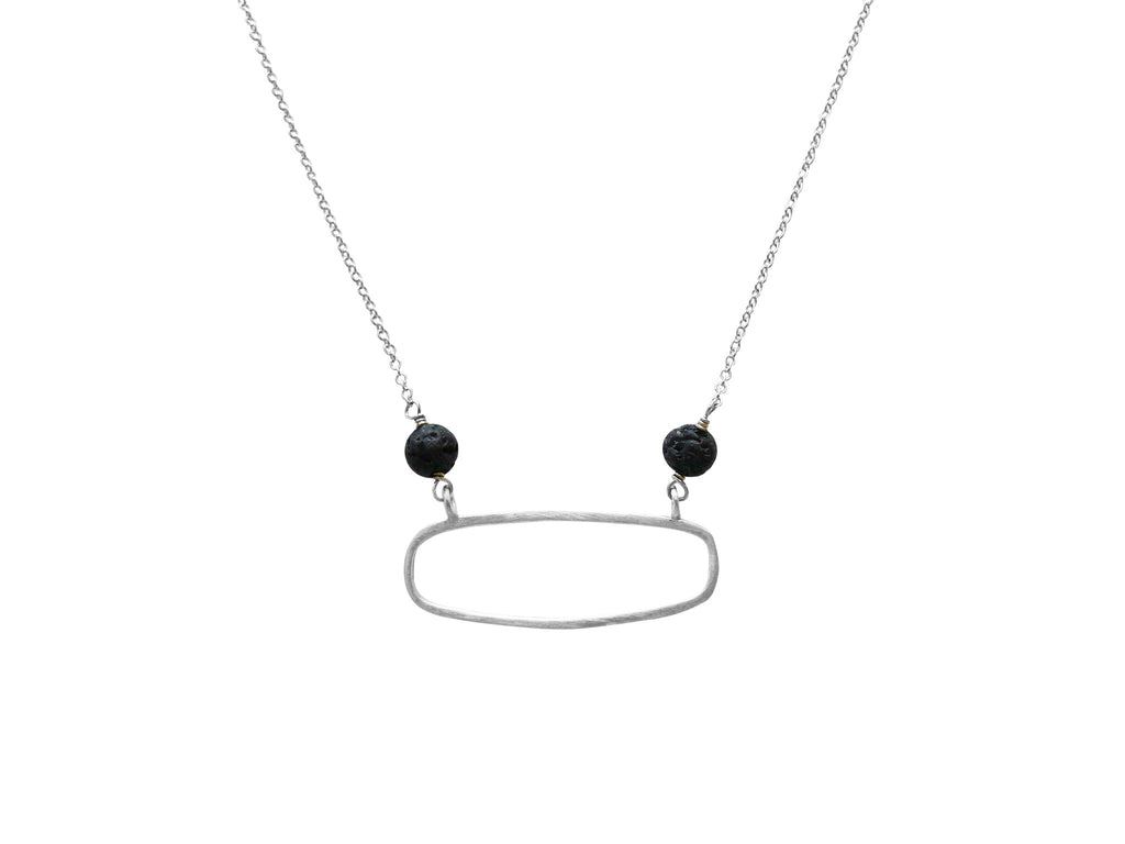 rectangle with lava beads diffuser necklace