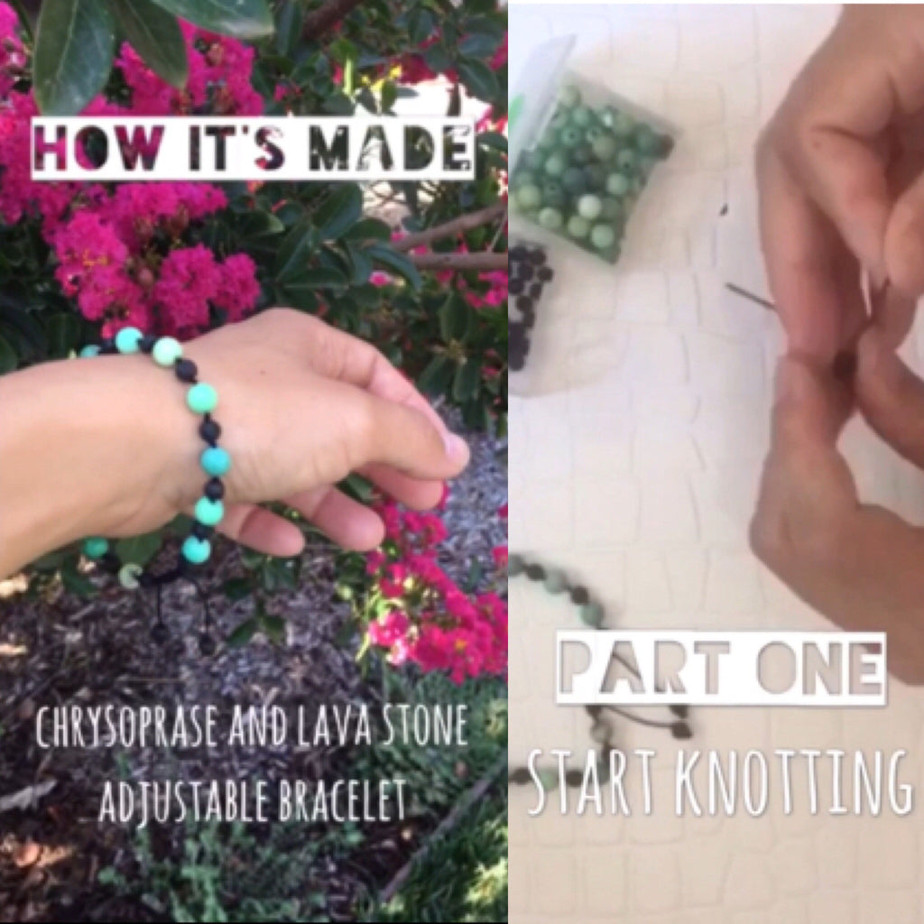 How It's Made: Chrysoprase and Lava Stone Bracelet