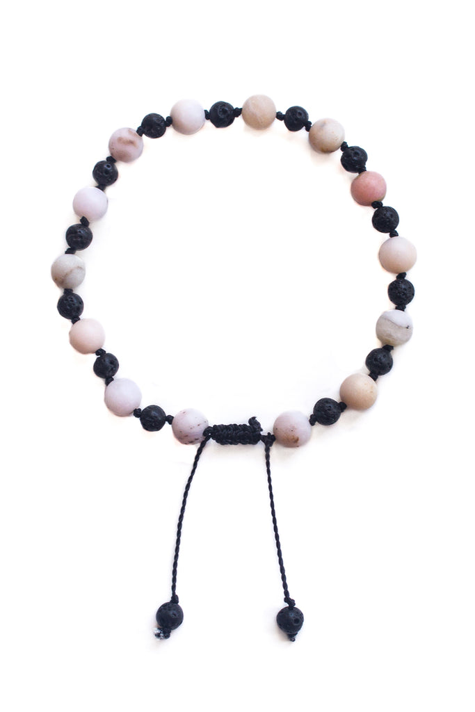 Pink Opal and Lava Stone Bracelet - 100 Graces