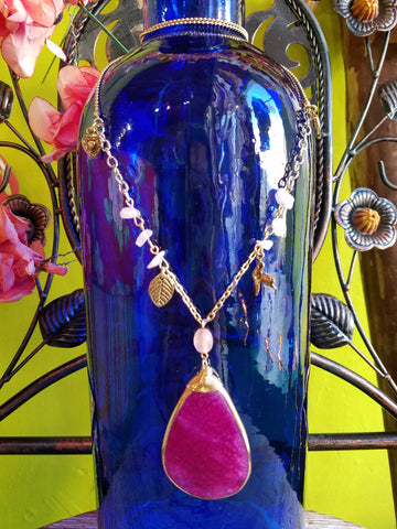 Dreamer Fuchsia Quartz Charm Necklace