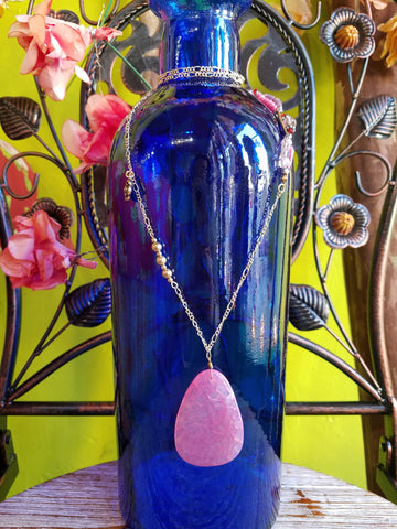 Beaded Healing Stone Cherry Quartz Charm Necklace