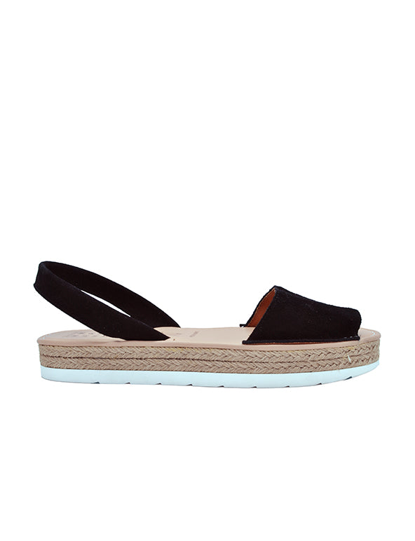 Leather Sandal-Menorquina Black Suede Platform by Ethical & Sustainable Fashion Brand Mamahuhu