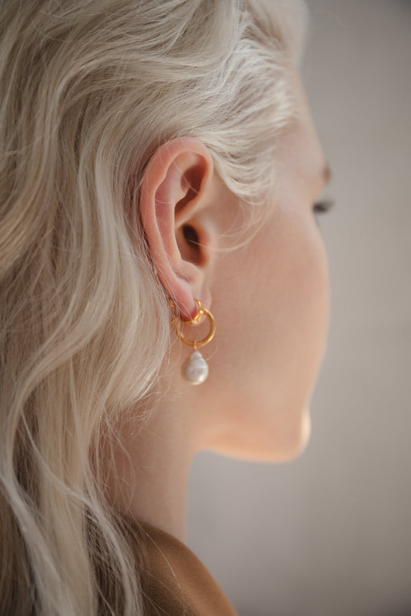 Eva Pearl Sleeper Hoops - Gold - By Flash Jewellery