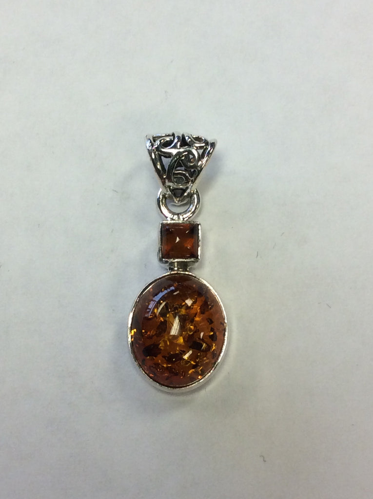 Sterling Pendant Amber Double Studded