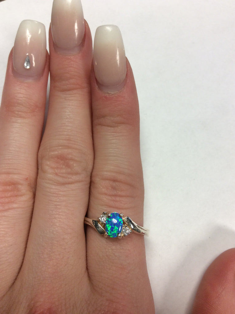 Sterling Blue Opal Ring