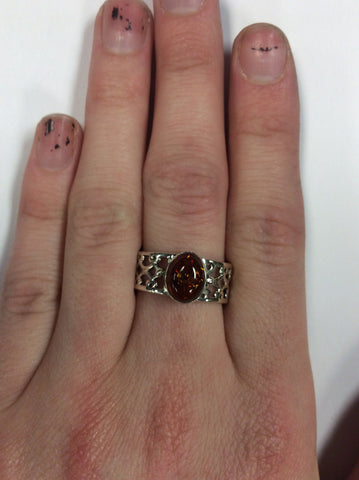 Sterling Amber Ring