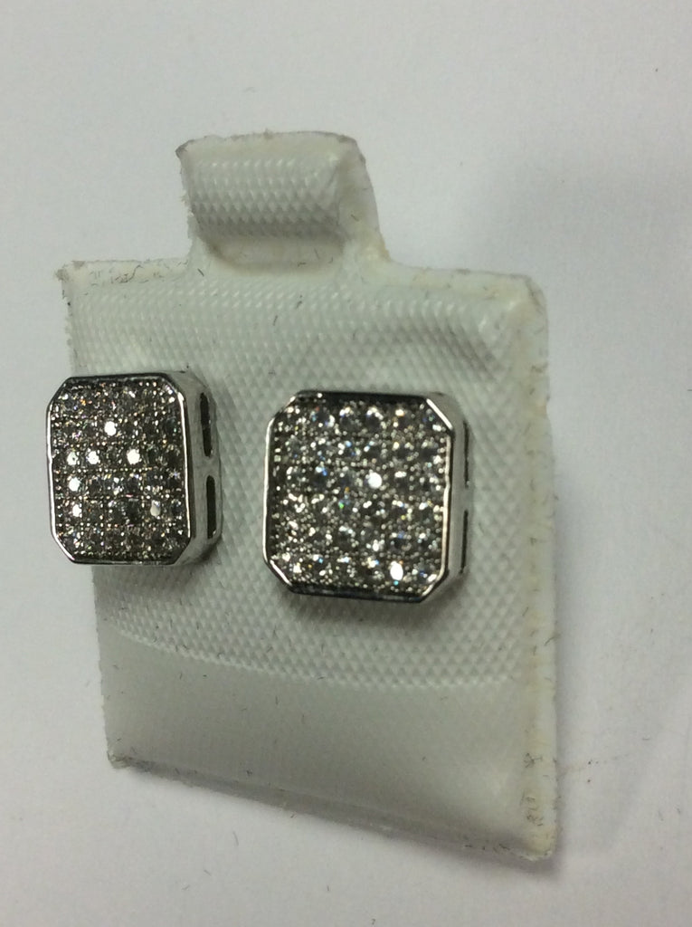 Sterling White Diamond Earrings