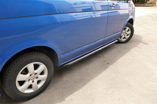 VW T5 Transporter OE Genuine Style Side Bars Sports Tubes Black Swb External