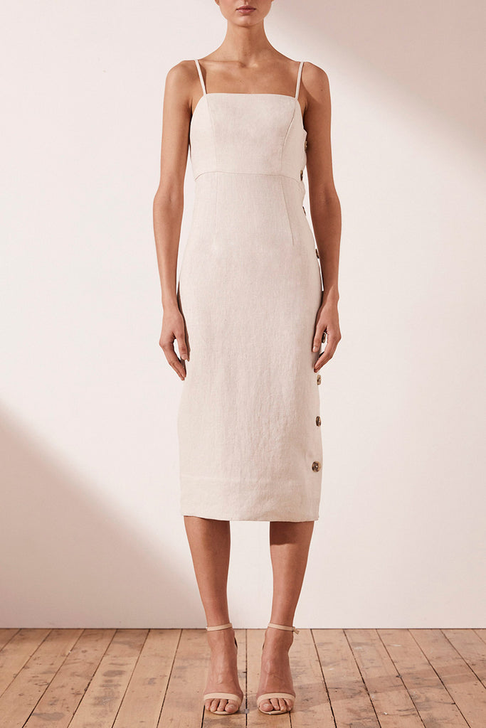 ALUARO LINEN FITTED MIDI DRESS