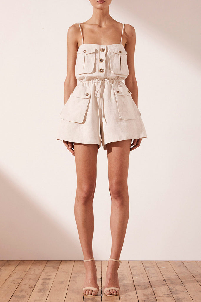 ALUARO LINEN SAFARI PLAYSUIT