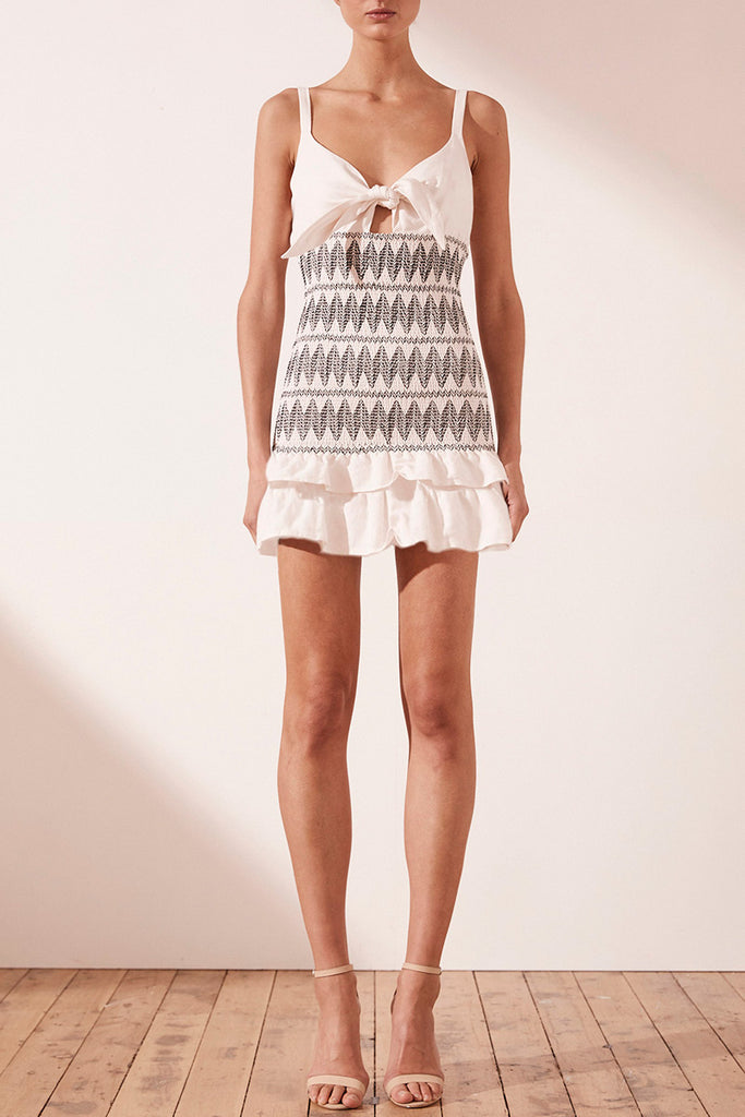 SANTANIA LINEN TIE FRONT MINI DRESS