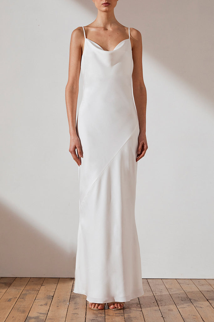 LUXE BIAS COWL SLIP DRESS - IVORY