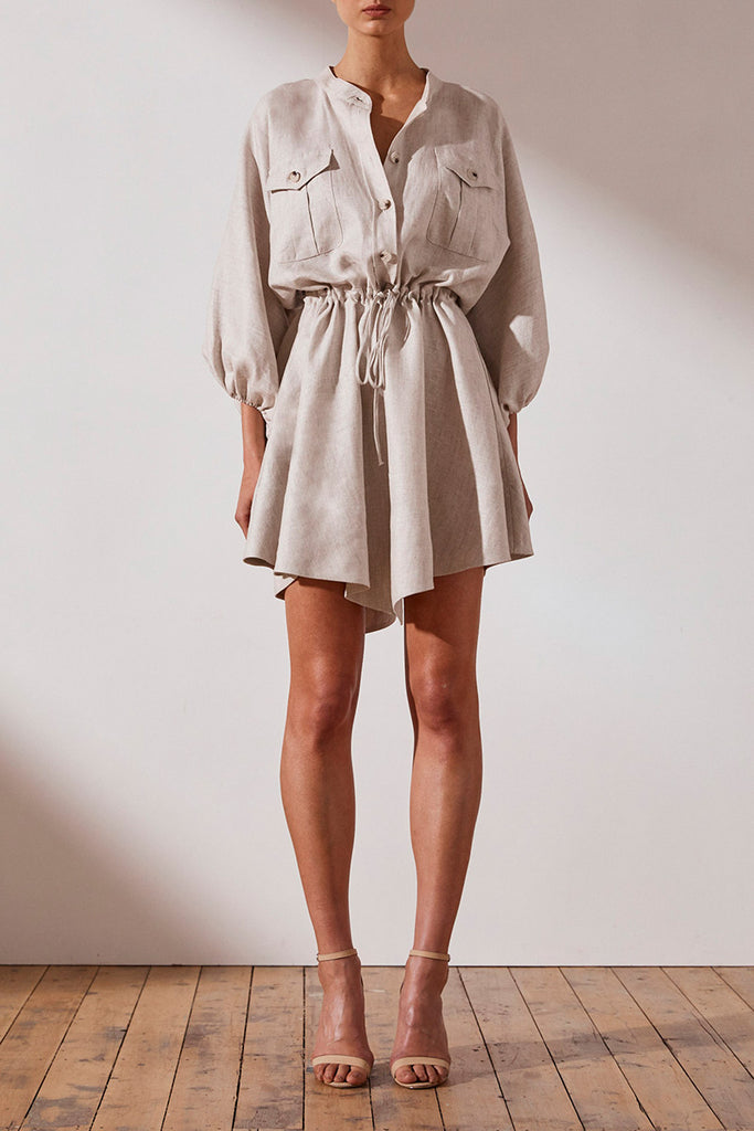 HAMILTON LINEN BALLOON SLEEVE MINI DRESS