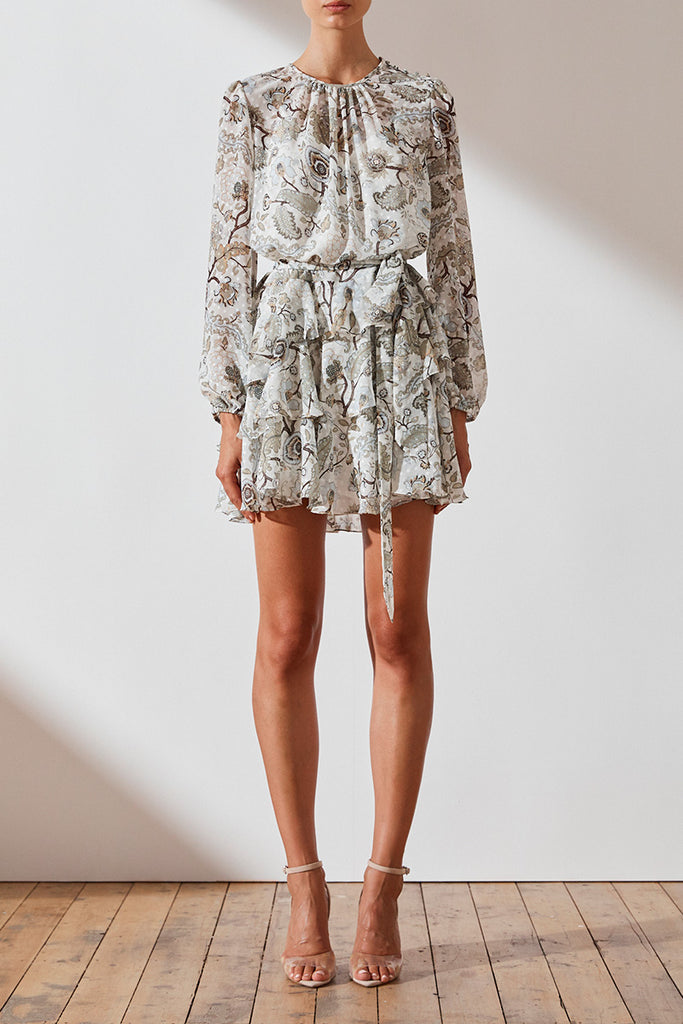 QUINN RUFFLE SHIFT MINI DRESS