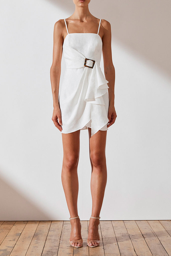 ST MARTIN LINEN DRAPED MINI DRESS - WHITE