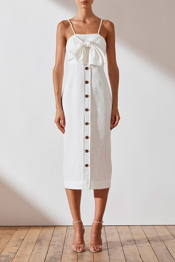 ST MARTIN LINEN TIE FRONT MIDI DRESS - WHITE