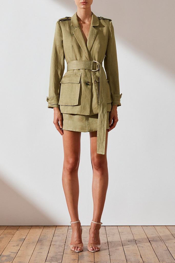 ELLINGTON LINEN JACKET - OLIVE