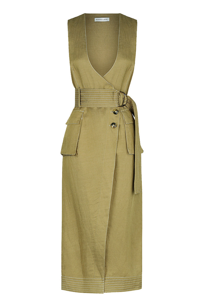ELLINGTON LINEN WRAP MIDI DRESS - OLIVE