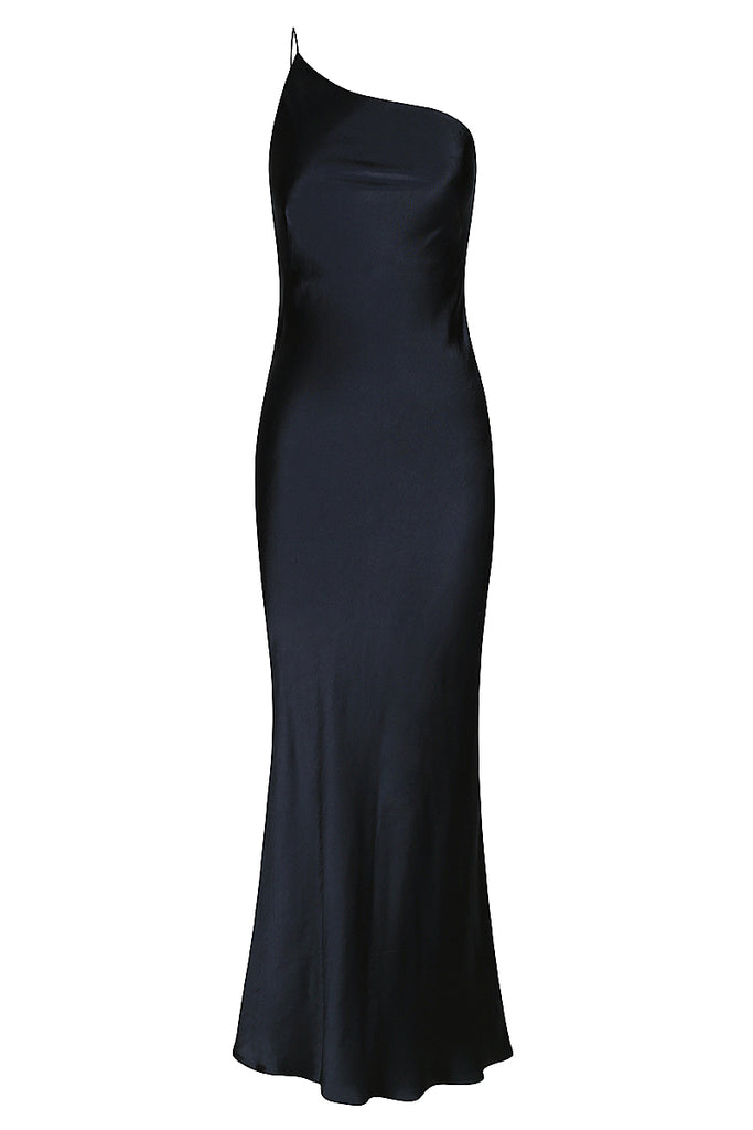 GISELE ONE SHOULDER BIAS DRESS - NAVY