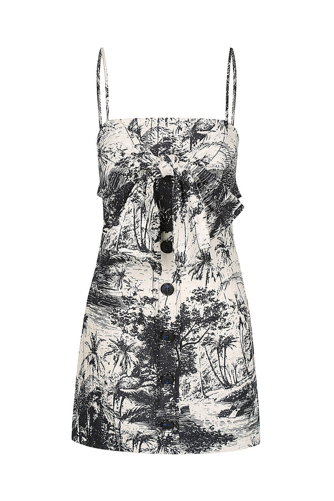 MARADONA LINEN TIE FRONT MINI DRESS