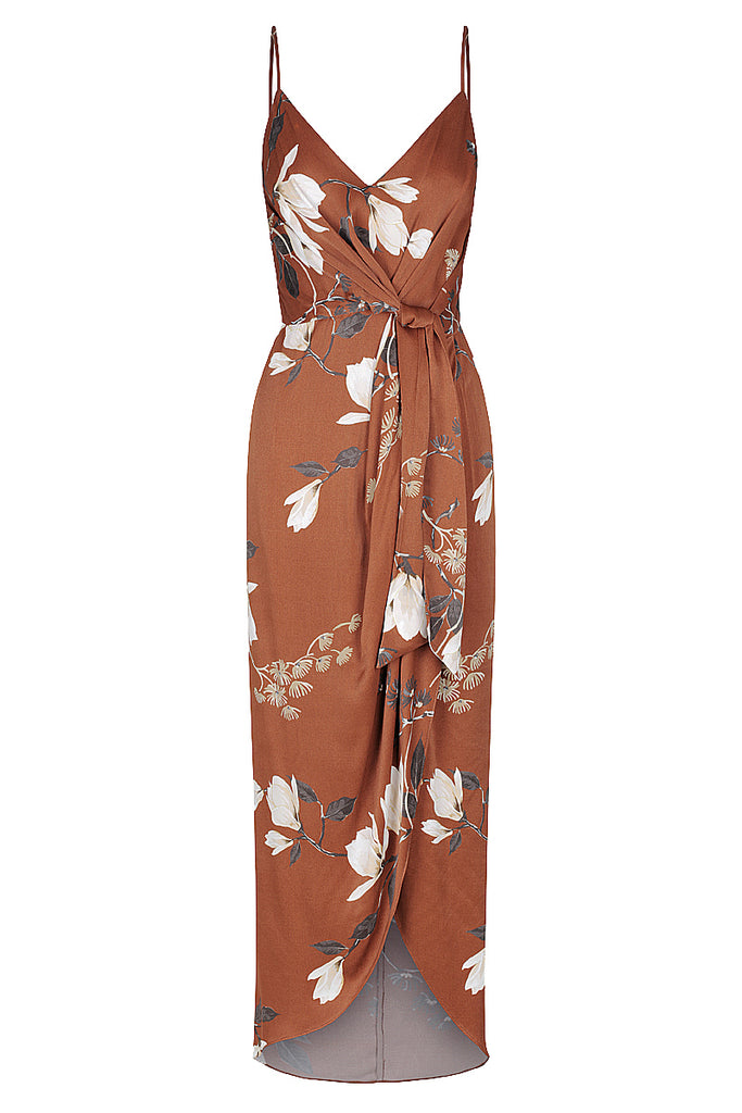 ST LUCIA TIE FRONT MIDI DRESS