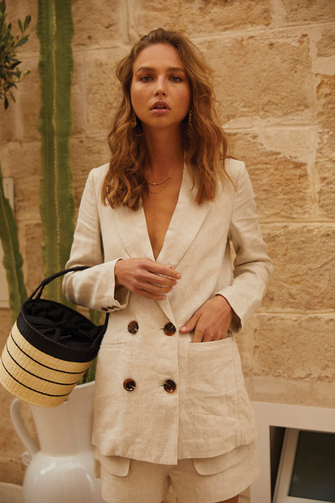 ST MARTIN LINEN DOUBLE BREASTED BLAZER - NATURAL