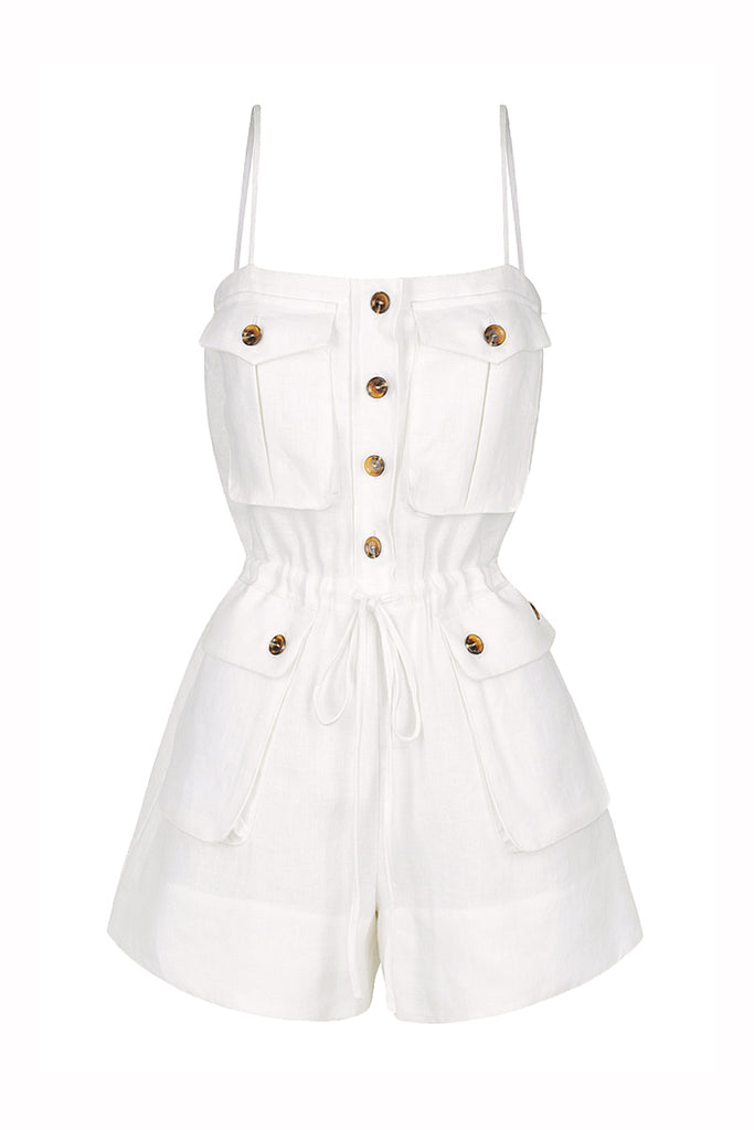 ST MARTIN LINEN SAFARI PLAYSUIT - WHITE