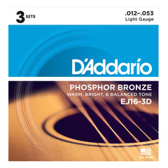 D'Addario EJ16 Phosphor Bronze Light - 3 set pack